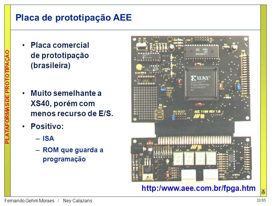 31/85 PLATAFORMAS DE PROTOTIPAÇÃO Fernando Gehm Moraes / Ney Calazans Placa LIRMM (detalhada em detalhes na Seção posterior) Placa com FPGAs Placa com
