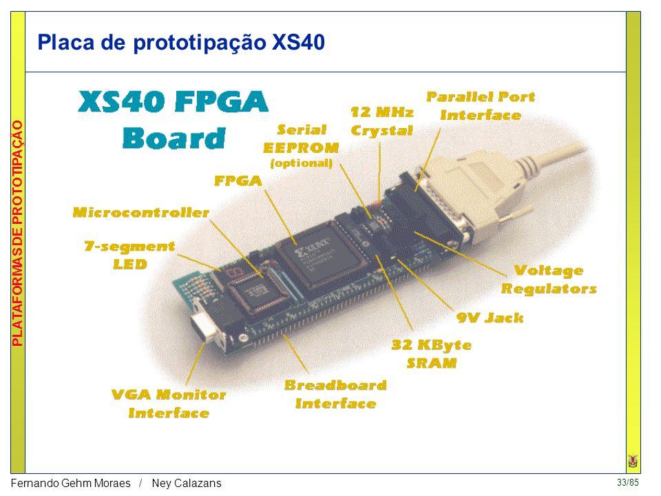 32/85 PLATAFORMAS DE PROTOTIPAÇÃO Fernando Gehm Moraes / Ney Calazans Placa de prototipação AEE http:/www.aee.com.br/fpga.htm Muito semelhante a XS40,