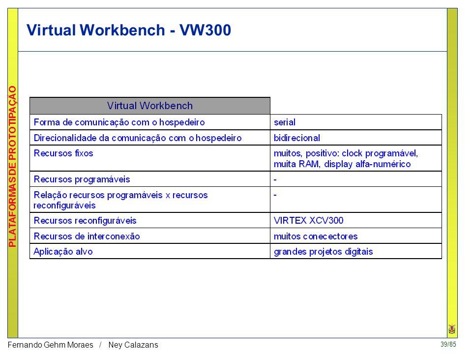 38/85 PLATAFORMAS DE PROTOTIPAÇÃO Fernando Gehm Moraes / Ney Calazans VCC VW300 - Virtual Workbench (US$ 1295 - ago/2000) FPGA XCV300 com 300K gates h