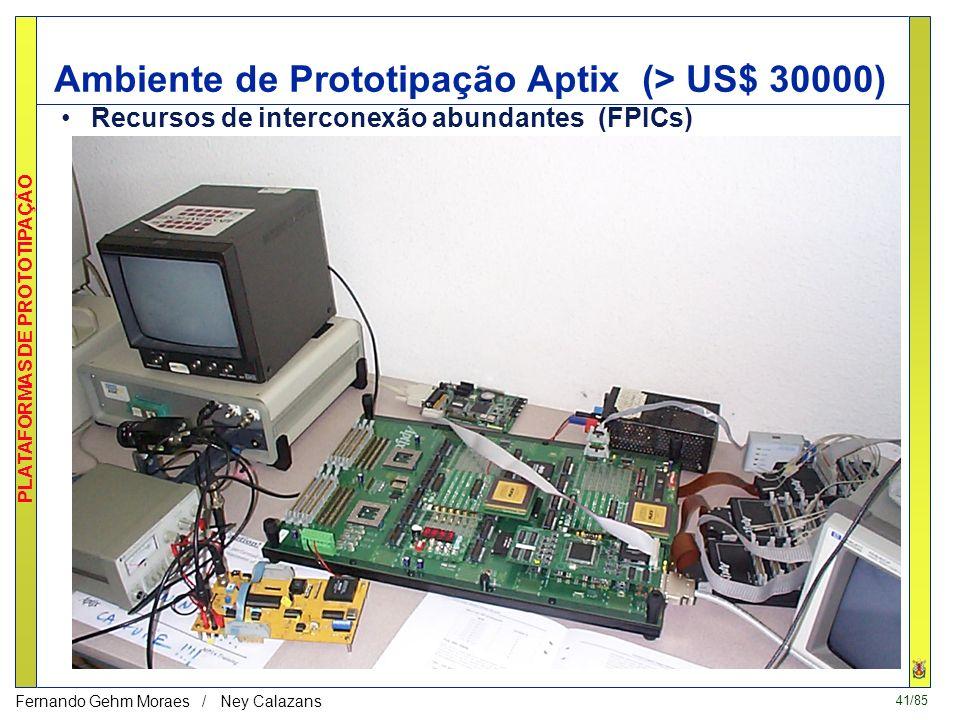 40/85 PLATAFORMAS DE PROTOTIPAÇÃO Fernando Gehm Moraes / Ney Calazans VCC HOTII-XL - 2 PLATAFORMAS - Barramento PCI DispositivoProgramável tipo FPGA I