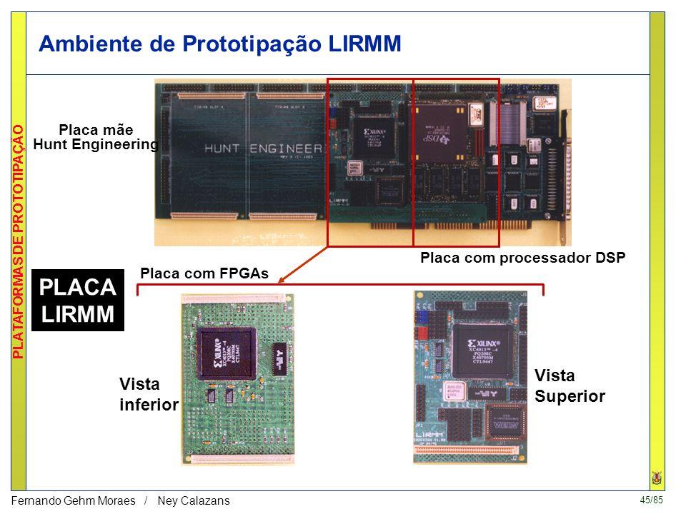 44/85 PLATAFORMAS DE PROTOTIPAÇÃO Fernando Gehm Moraes / Ney Calazans 4. PLACA LIRMM (1996) DSP FPGA RAM communication Protocols Carte FPGA Mother Boa