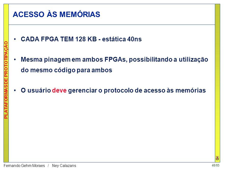 47/85 PLATAFORMAS DE PROTOTIPAÇÃO Fernando Gehm Moraes / Ney Calazans Arquitetura da placa LIRMM (FPGAs)