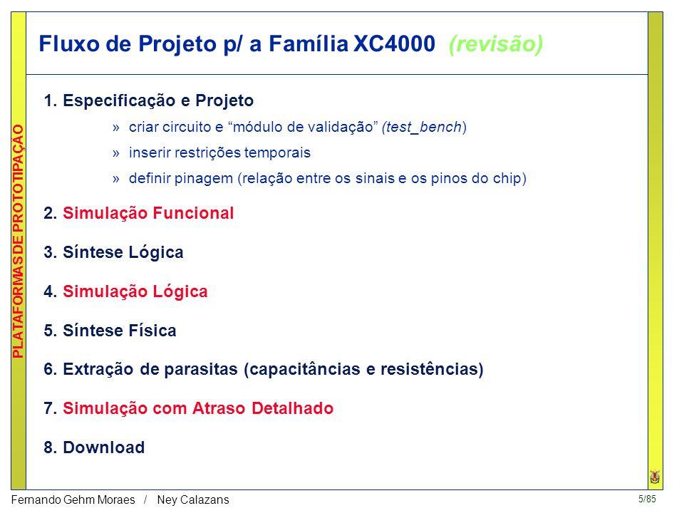 4/85 PLATAFORMAS DE PROTOTIPAÇÃO Fernando Gehm Moraes / Ney Calazans 1 - Projeto de SDs usando CAD Estrutura Geral de CAD: –Interface Gráfico-textual