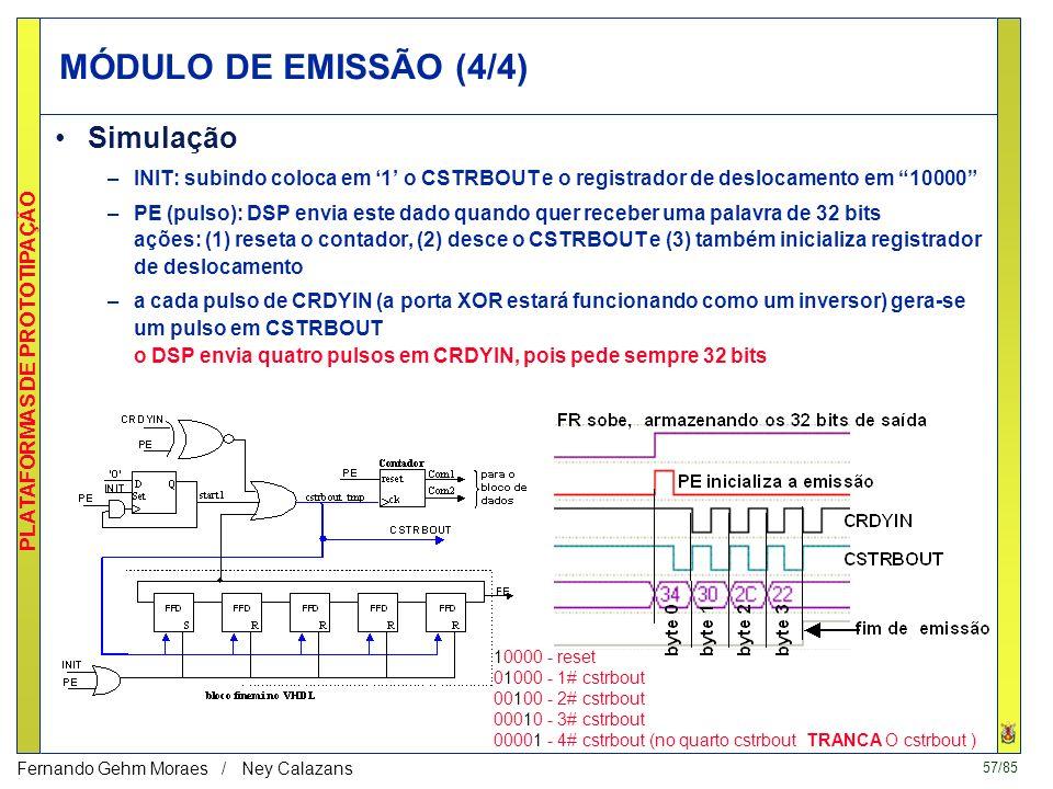 56/85 PLATAFORMAS DE PROTOTIPAÇÃO Fernando Gehm Moraes / Ney Calazans MÓDULO DE EMISSÃO (3/4) Implementação (controle - gerência pelo DSP) 10000 - res