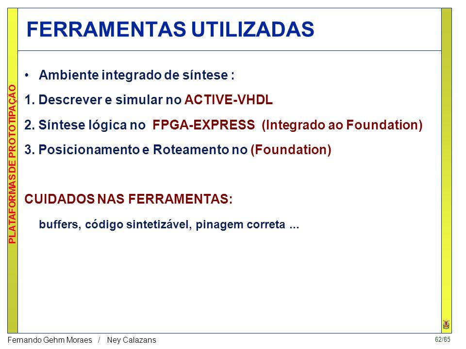 61/85 PLATAFORMAS DE PROTOTIPAÇÃO Fernando Gehm Moraes / Ney Calazans SIMULAÇÃO INIT recebeu 4 bytes e avisa FR (fim de recepção) 2 a RECEP3 a RECEP4