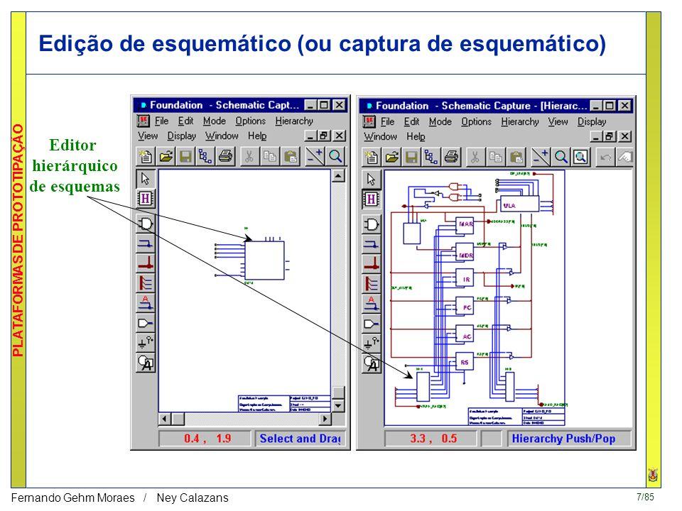 6/85 PLATAFORMAS DE PROTOTIPAÇÃO Fernando Gehm Moraes / Ney Calazans Exemplo de Sistema de Projeto - Foundation, da Xilinx Componentes de projeto Ferr