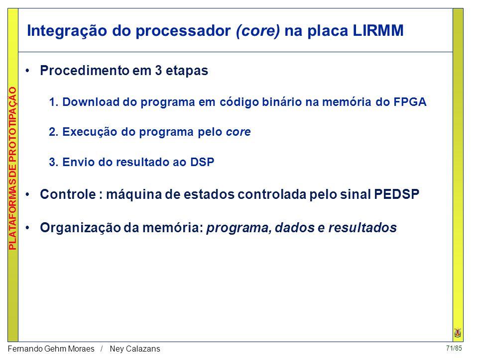 70/85 PLATAFORMAS DE PROTOTIPAÇÃO Fernando Gehm Moraes / Ney Calazans 4.4. Processador Cleópatra na Placa LIRMM ce rw ADDRESS DATA CONTROL BLOCK µinst