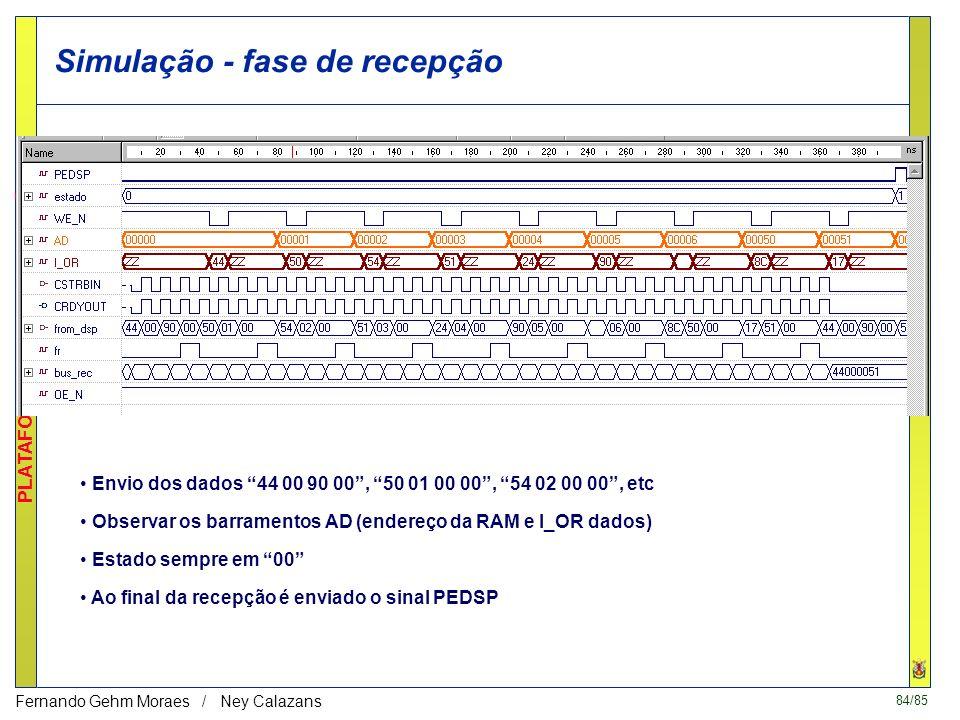 83/85 PLATAFORMAS DE PROTOTIPAÇÃO Fernando Gehm Moraes / Ney Calazans VHDL - test_bench Acompanhar na listagem anexa Quatro ações realizadas pelo test