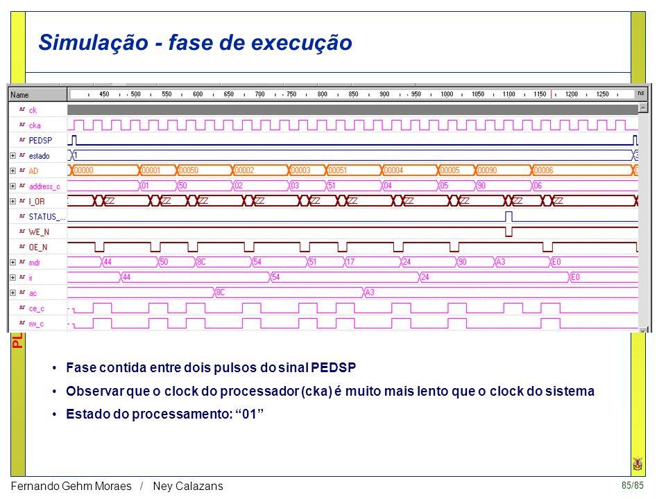84/85 PLATAFORMAS DE PROTOTIPAÇÃO Fernando Gehm Moraes / Ney Calazans Simulação - fase de recepção Envio dos dados 44 00 90 00, 50 01 00 00, 54 02 00