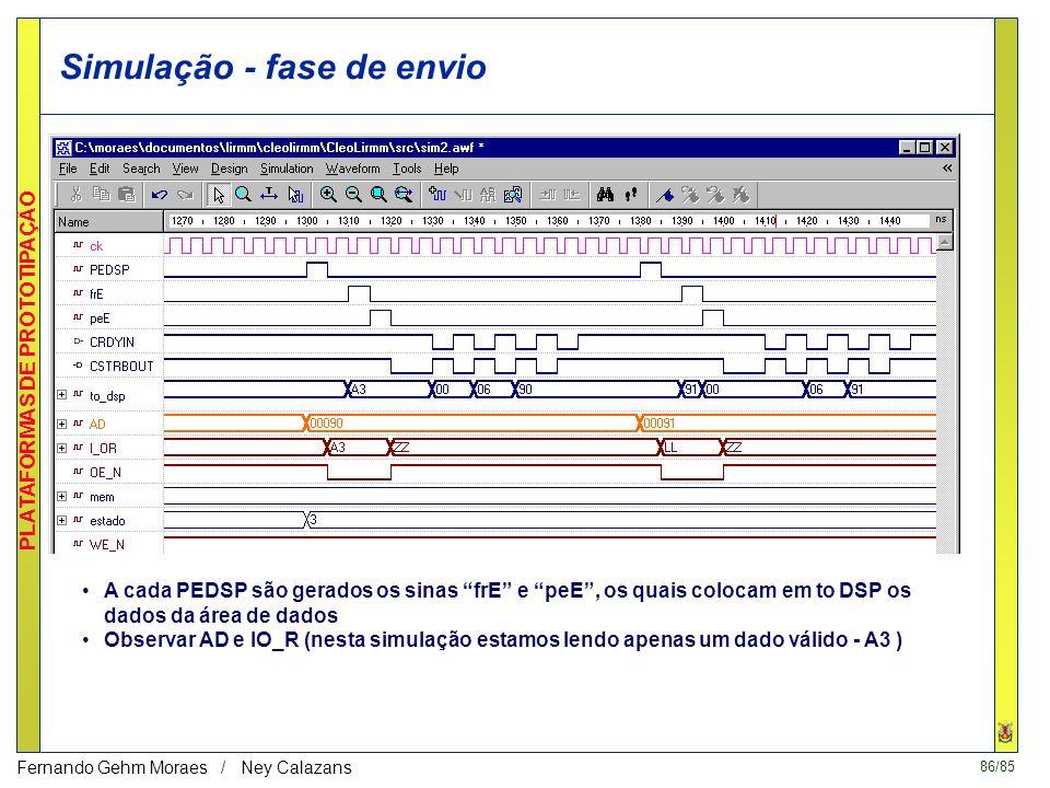 85/85 PLATAFORMAS DE PROTOTIPAÇÃO Fernando Gehm Moraes / Ney Calazans Simulação - fase de execução Fase contida entre dois pulsos do sinal PEDSP Obser