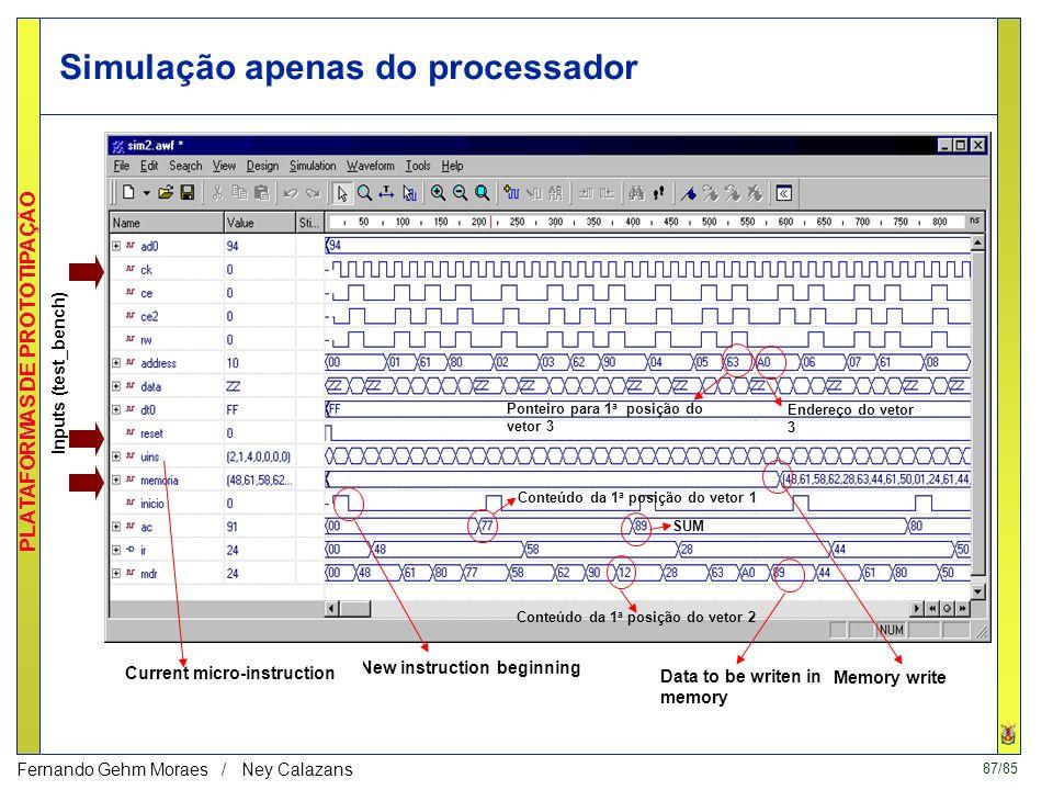 86/85 PLATAFORMAS DE PROTOTIPAÇÃO Fernando Gehm Moraes / Ney Calazans Simulação - fase de envio A cada PEDSP são gerados os sinas frE e peE, os quais