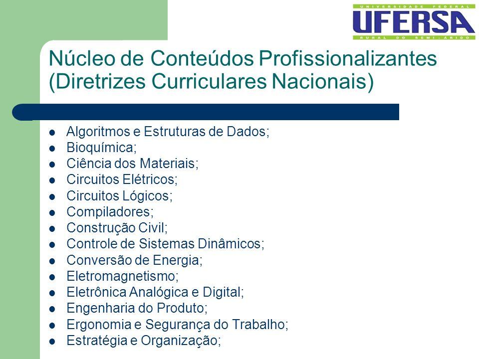Núcleo de Conteúdos Profissionalizantes (Diretrizes Curriculares Nacionais) Algoritmos e Estruturas de Dados; Bioquímica; Ciência dos Materiais; Circu