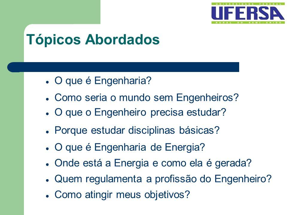 Tópicos Abordados O que é Engenharia? Como seria o mundo sem Engenheiros? O que o Engenheiro precisa estudar? O que é Engenharia de Energia? Onde está
