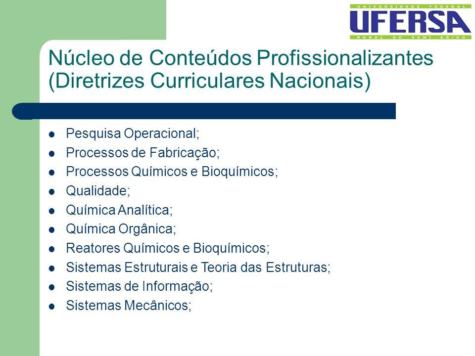 Núcleo de Conteúdos Profissionalizantes (Diretrizes Curriculares Nacionais) Pesquisa Operacional; Processos de Fabricação; Processos Químicos e Bioquí