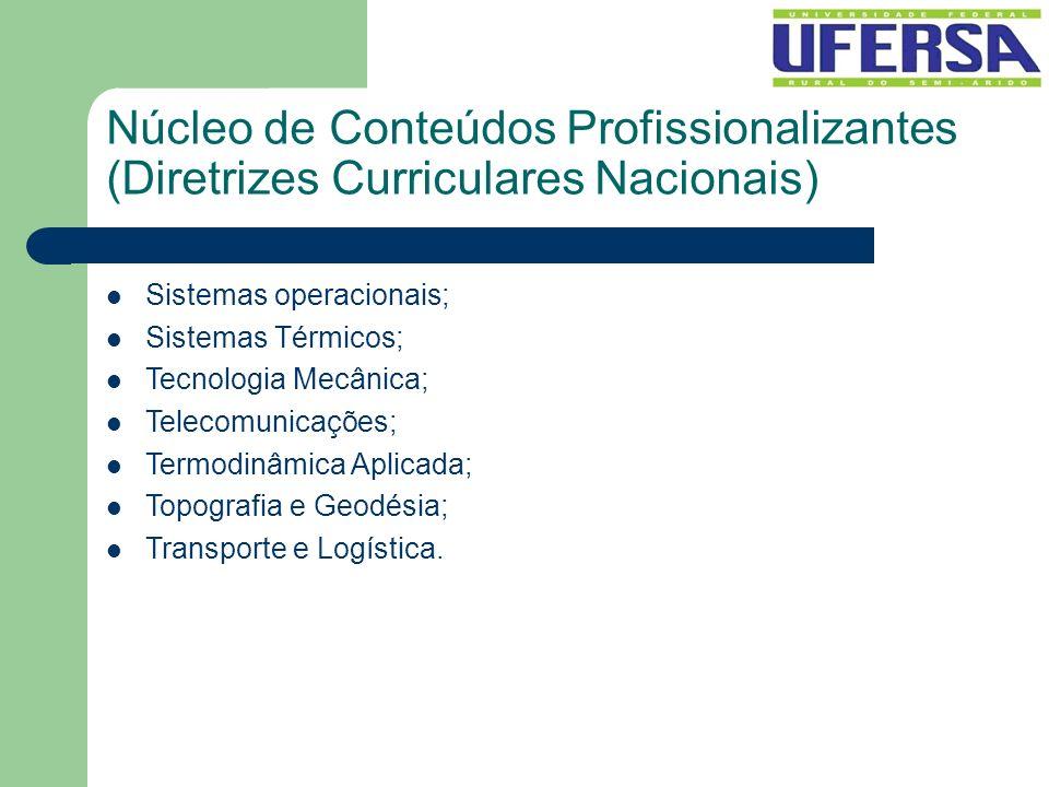 Núcleo de Conteúdos Profissionalizantes (Diretrizes Curriculares Nacionais) Sistemas operacionais; Sistemas Térmicos; Tecnologia Mecânica; Telecomunic