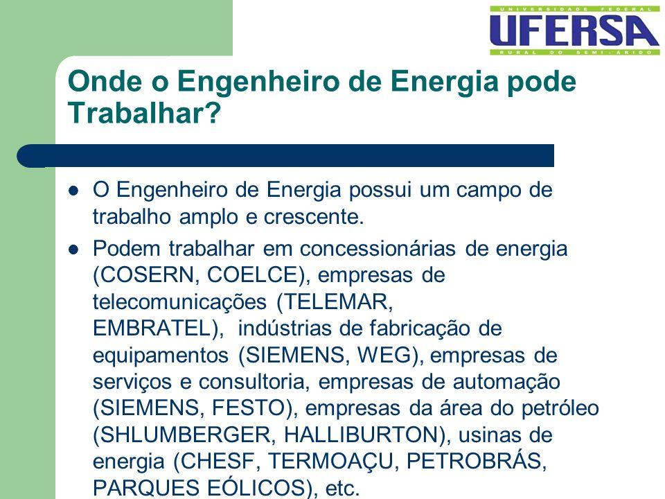 Onde o Engenheiro de Energia pode Trabalhar? O Engenheiro de Energia possui um campo de trabalho amplo e crescente. Podem trabalhar em concessionárias
