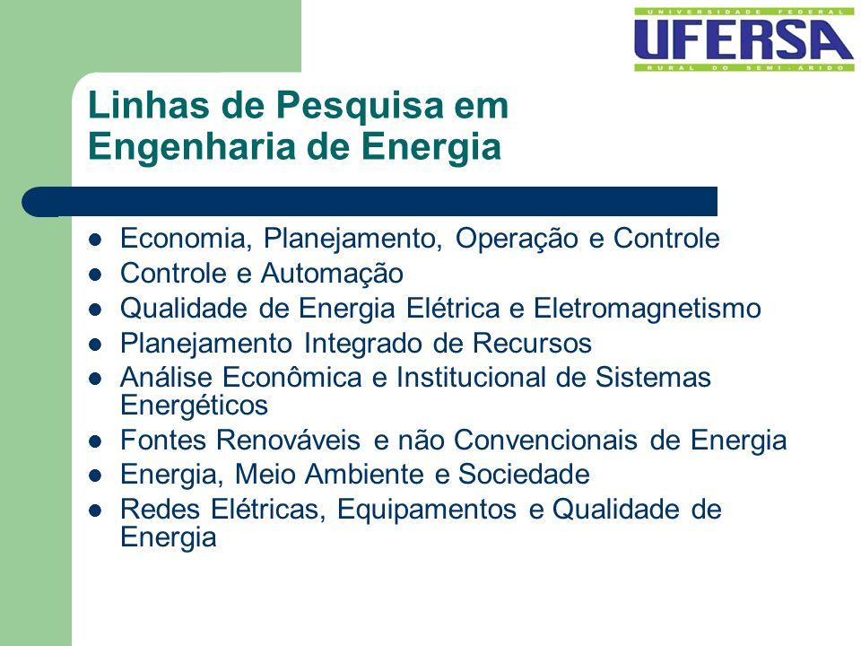 Linhas de Pesquisa em Engenharia de Energia Economia, Planejamento, Operação e Controle Controle e Automação Qualidade de Energia Elétrica e Eletromag