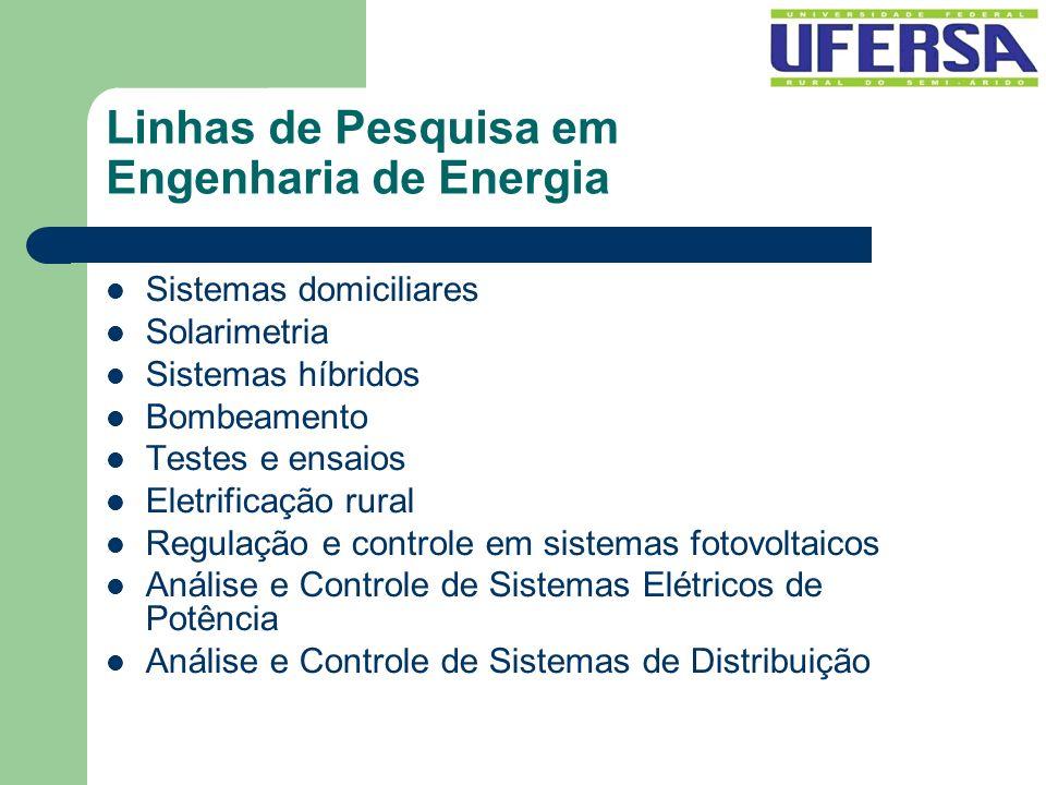 Linhas de Pesquisa em Engenharia de Energia Sistemas domiciliares Solarimetria Sistemas híbridos Bombeamento Testes e ensaios Eletrificação rural Regu