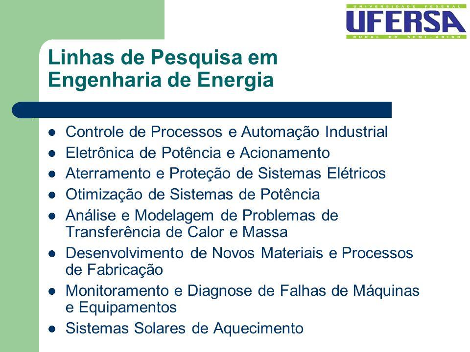 Linhas de Pesquisa em Engenharia de Energia Controle de Processos e Automação Industrial Eletrônica de Potência e Acionamento Aterramento e Proteção d