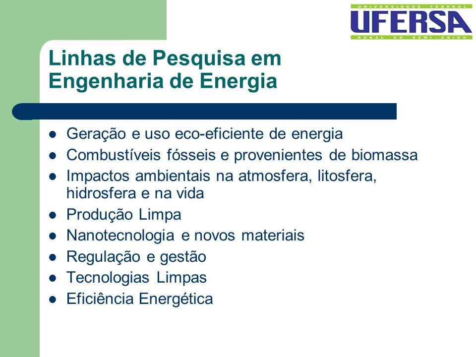 Linhas de Pesquisa em Engenharia de Energia Geração e uso eco-eficiente de energia Combustíveis fósseis e provenientes de biomassa Impactos ambientais