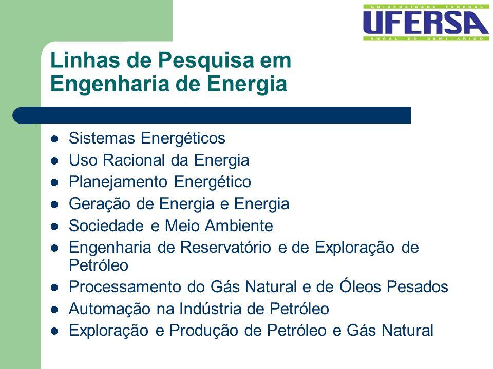 Linhas de Pesquisa em Engenharia de Energia Sistemas Energéticos Uso Racional da Energia Planejamento Energético Geração de Energia e Energia Sociedad