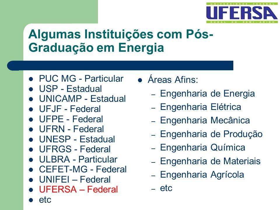 Algumas Instituições com Pós- Graduação em Energia PUC MG - Particular USP - Estadual UNICAMP - Estadual UFJF - Federal UFPE - Federal UFRN - Federal