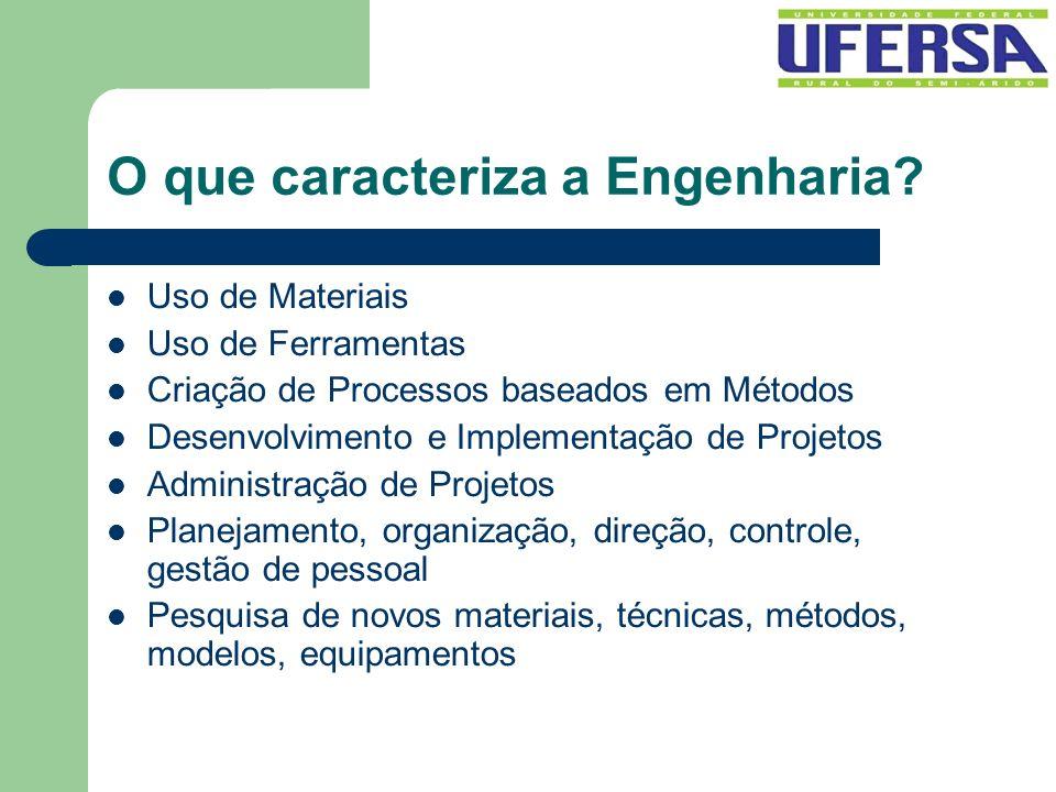 O que caracteriza a Engenharia? Uso de Materiais Uso de Ferramentas Criação de Processos baseados em Métodos Desenvolvimento e Implementação de Projet