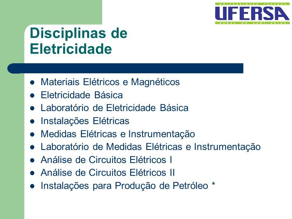 Disciplinas de Eletricidade Materiais Elétricos e Magnéticos Eletricidade Básica Laboratório de Eletricidade Básica Instalações Elétricas Medidas Elét