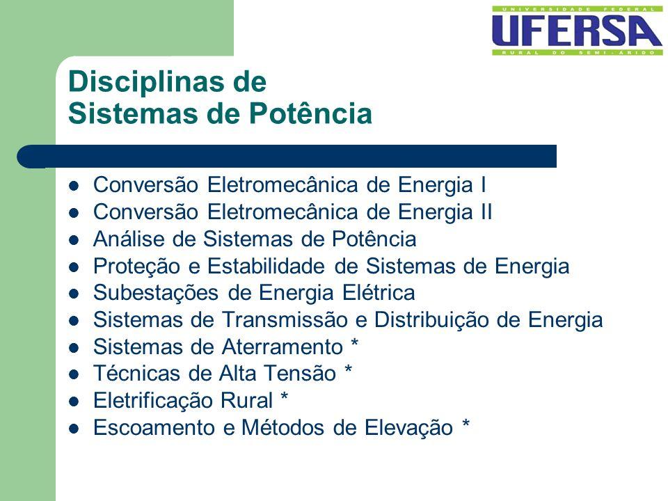 Disciplinas de Sistemas de Potência Conversão Eletromecânica de Energia I Conversão Eletromecânica de Energia II Análise de Sistemas de Potência Prote