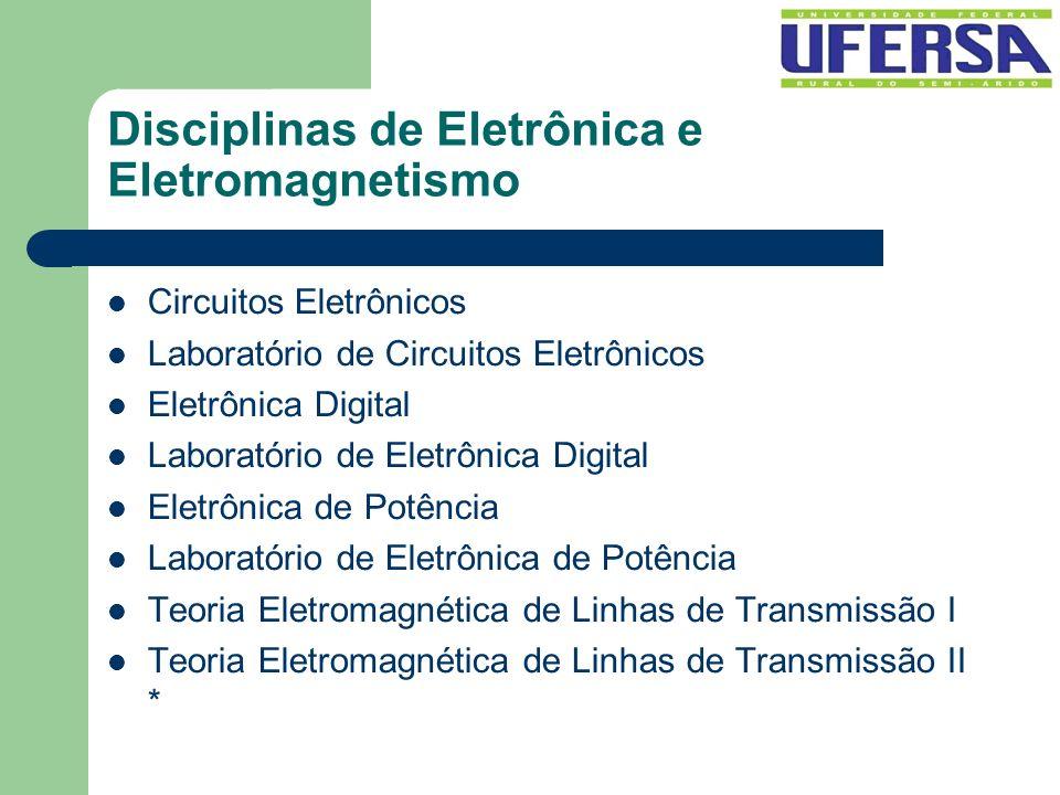 Disciplinas de Eletrônica e Eletromagnetismo Circuitos Eletrônicos Laboratório de Circuitos Eletrônicos Eletrônica Digital Laboratório de Eletrônica D
