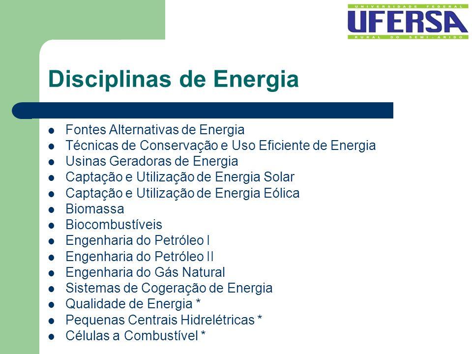 Disciplinas de Energia Fontes Alternativas de Energia Técnicas de Conservação e Uso Eficiente de Energia Usinas Geradoras de Energia Captação e Utiliz