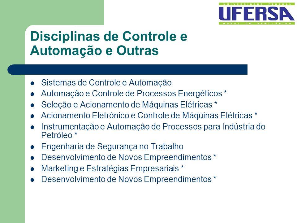 Disciplinas de Controle e Automação e Outras Sistemas de Controle e Automação Automação e Controle de Processos Energéticos * Seleção e Acionamento de