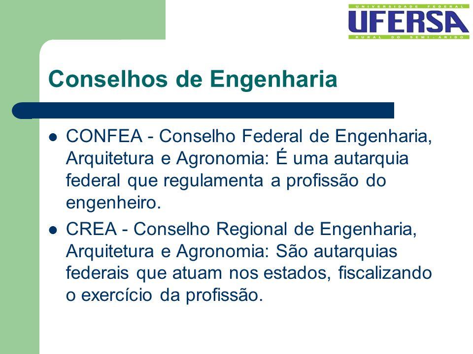 Conselhos de Engenharia CONFEA - Conselho Federal de Engenharia, Arquitetura e Agronomia: É uma autarquia federal que regulamenta a profissão do engen