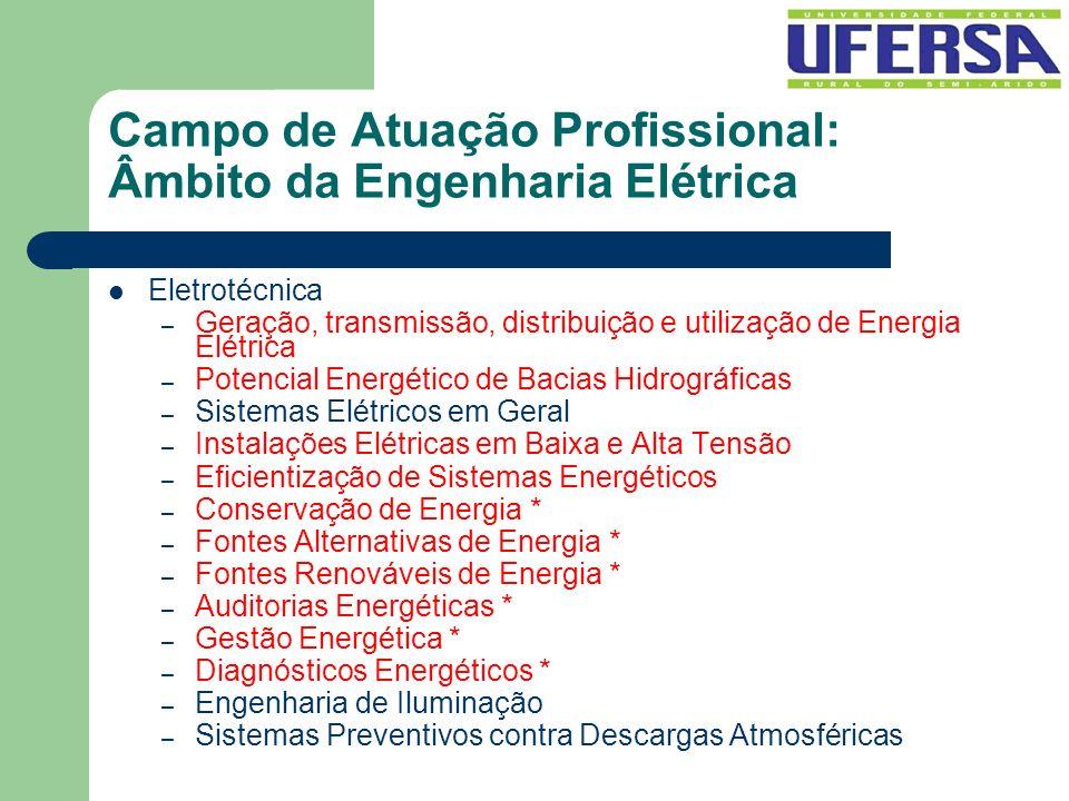 Campo de Atuação Profissional: Âmbito da Engenharia Elétrica Eletrotécnica – Geração, transmissão, distribuição e utilização de Energia Elétrica – Pot