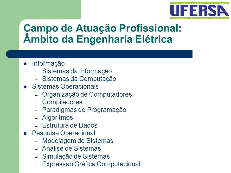 Campo de Atuação Profissional: Âmbito da Engenharia Elétrica Informação – Sistemas da Informação – Sistemas da Computação Sistemas Operacionais – Orga