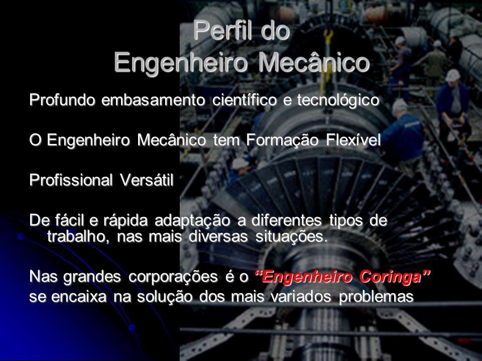 Perfil do Engenheiro Mecânico Profundo embasamento científico e tecnológico O Engenheiro Mecânico tem Formação Flexível Profissional Versátil De fácil e rápida adaptação a diferentes tipos de trabalho, nas mais diversas situações.