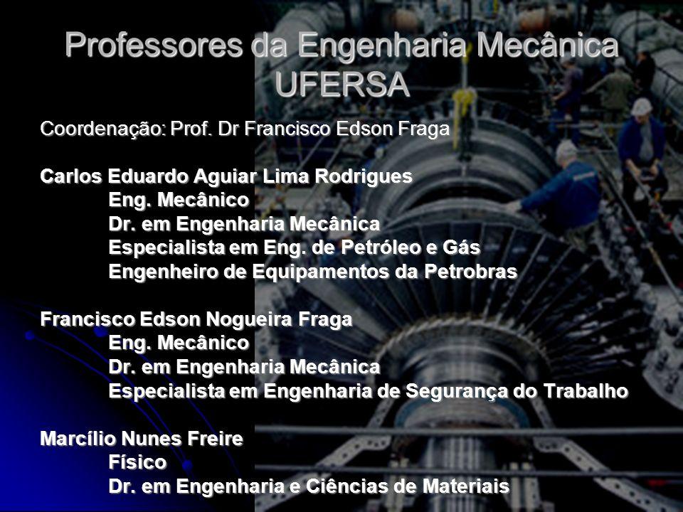 Professores da Engenharia Mecânica UFERSA Coordenação: Prof. Dr Francisco Edson Fraga Carlos Eduardo Aguiar Lima Rodrigues Eng. Mecânico Dr. em Engenh