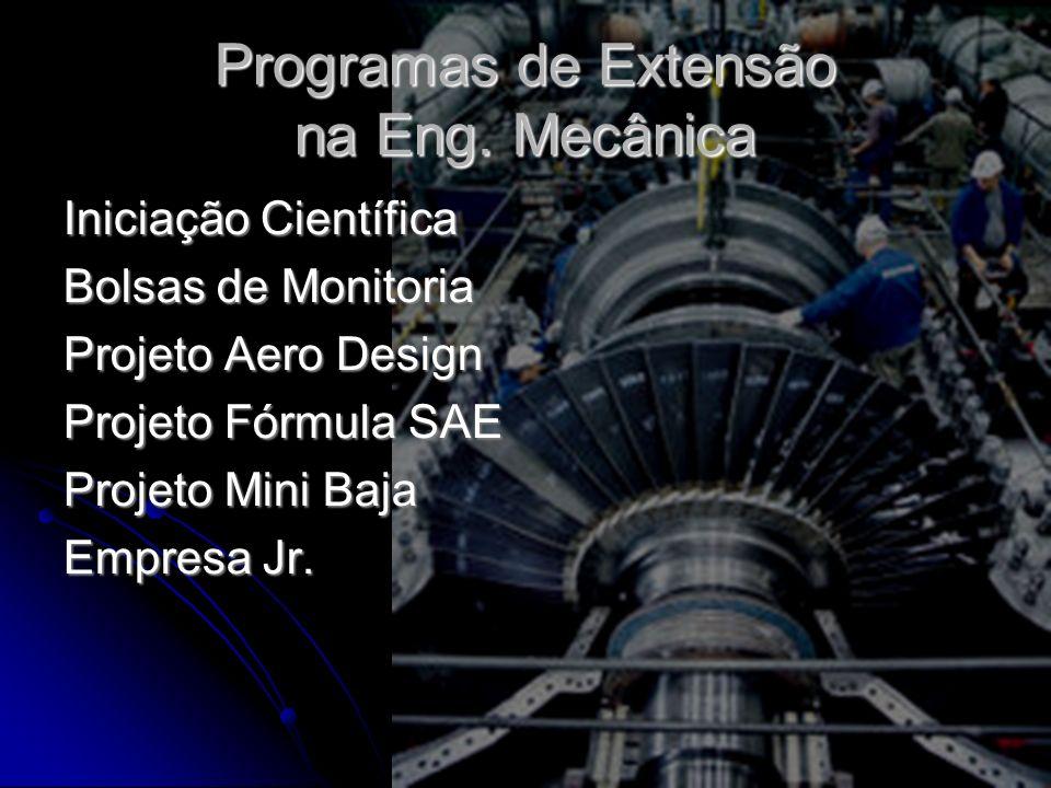 Programas de Extensão na Eng. Mecânica Iniciação Científica Bolsas de Monitoria Projeto Aero Design Projeto Fórmula SAE Projeto Mini Baja Empresa Jr.