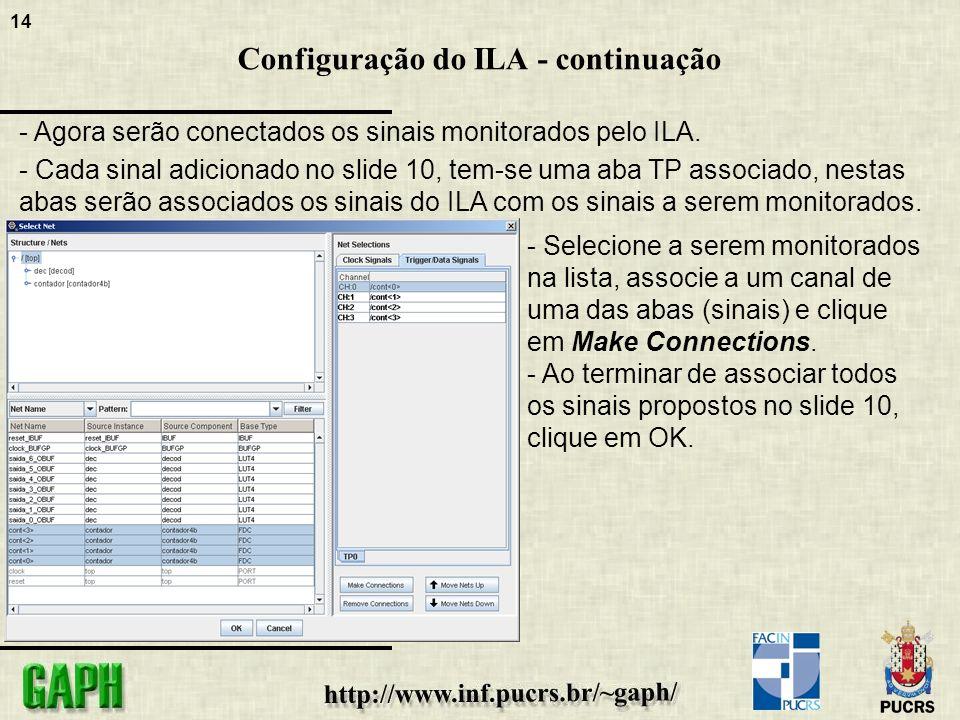 14 Configuração do ILA - continuação - Agora serão conectados os sinais monitorados pelo ILA.