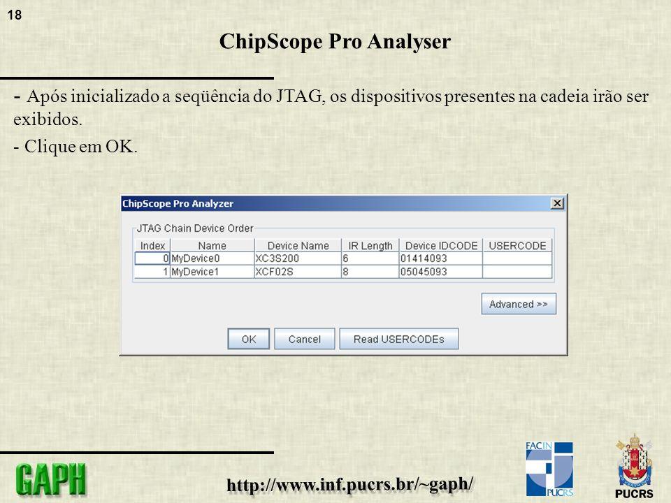 18 ChipScope Pro Analyser - Após inicializado a seqüência do JTAG, os dispositivos presentes na cadeia irão ser exibidos.