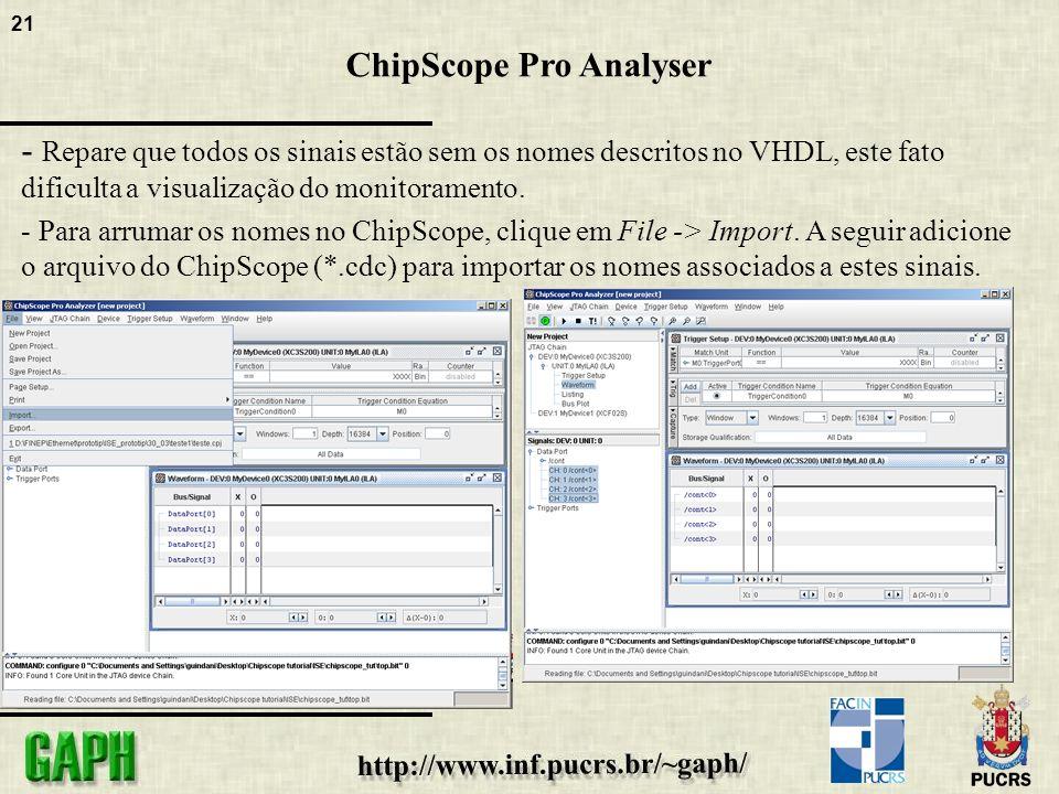 21 ChipScope Pro Analyser - Repare que todos os sinais estão sem os nomes descritos no VHDL, este fato dificulta a visualização do monitoramento.