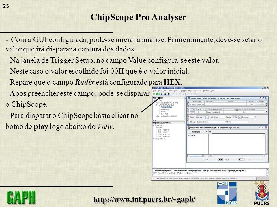23 ChipScope Pro Analyser - Com a GUI configurada, pode-se iniciar a análise.
