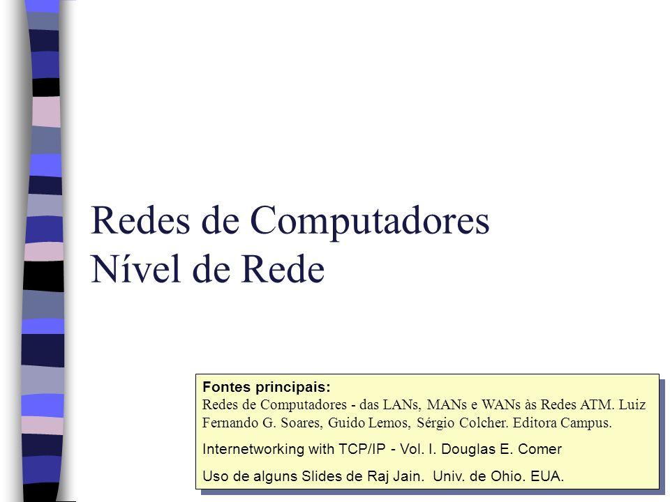 Nível de Rede Modelo OSI n Mecanismos para: –multiplexação –roteamento –endereçamento –mapeamento de endereços de rede em endereços de enlace ou de sub-rede –estabelecimento e liberação de conexões de rede –detecção e recuperação de erros –seqüenciação –controle de congestionamento –resolução de heterogeneidade de redes
