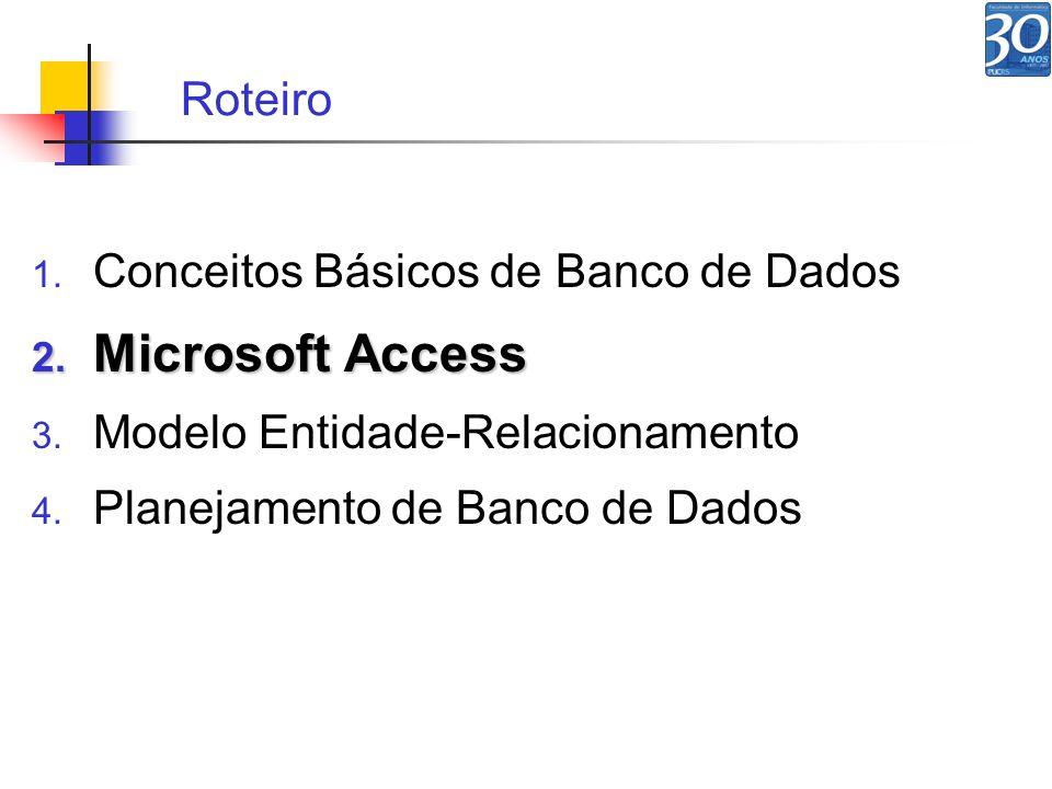 1. Conceitos Básicos de Banco de Dados 2. Microsoft Access 3. Modelo Entidade-Relacionamento 4. Planejamento de Banco de Dados Roteiro