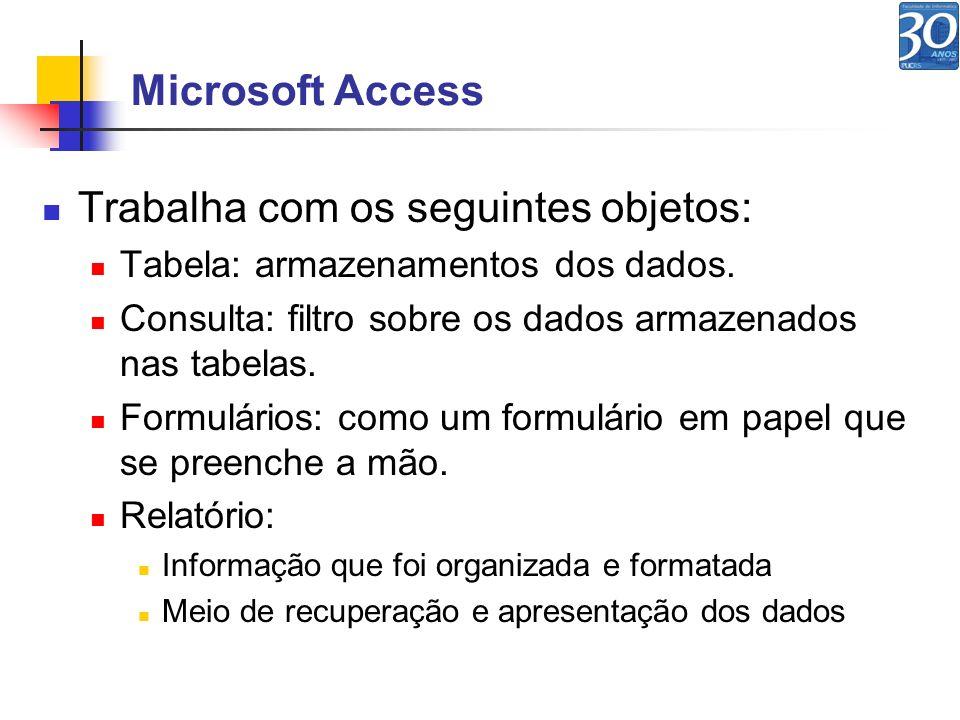 Microsoft Access Trabalha com os seguintes objetos: Tabela: armazenamentos dos dados. Consulta: filtro sobre os dados armazenados nas tabelas. Formulá