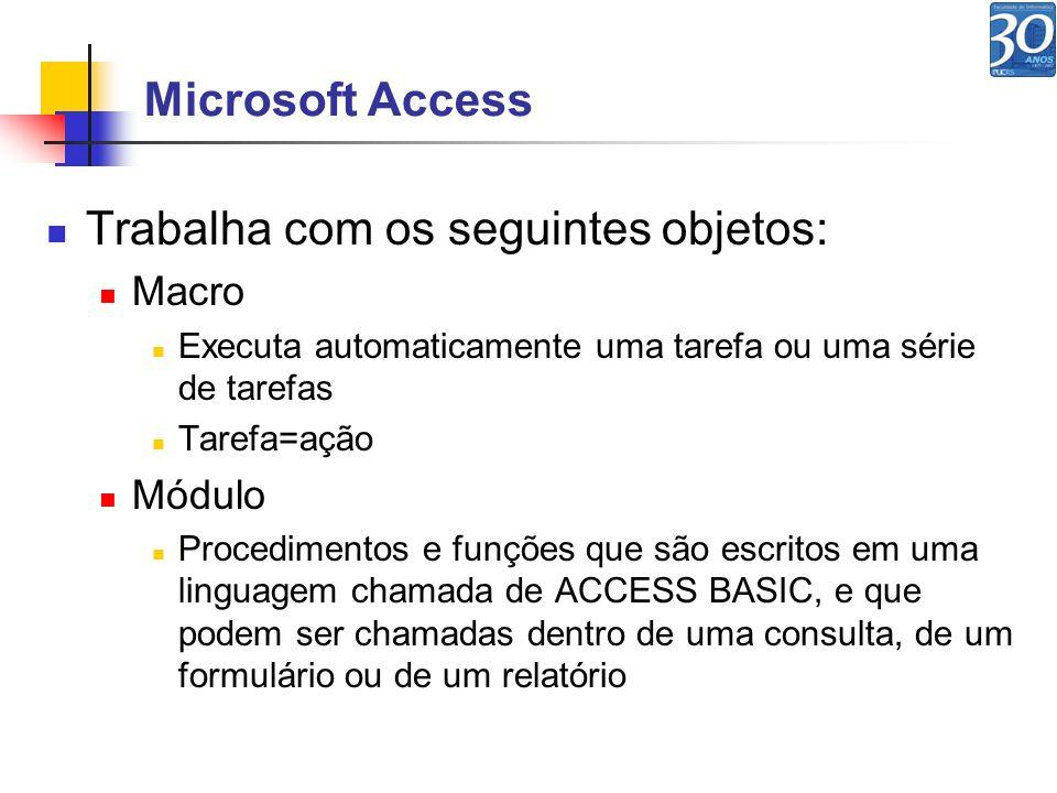 Microsoft Access Trabalha com os seguintes objetos: Macro Executa automaticamente uma tarefa ou uma série de tarefas Tarefa=ação Módulo Procedimentos