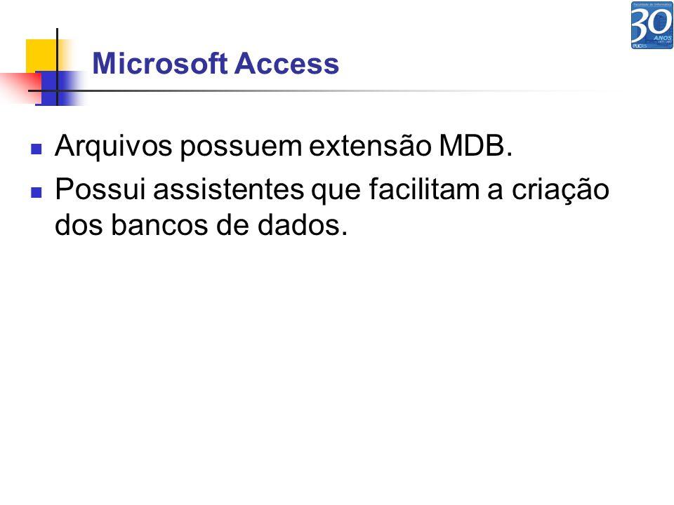 Microsoft Access Arquivos possuem extensão MDB. Possui assistentes que facilitam a criação dos bancos de dados.