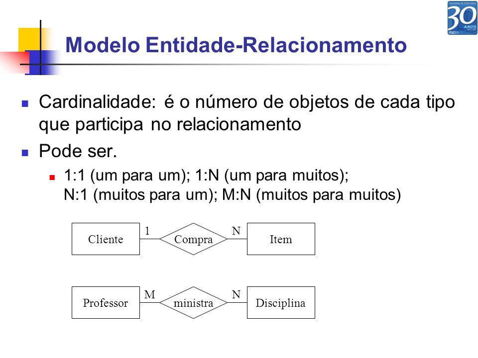 Cardinalidade: é o número de objetos de cada tipo que participa no relacionamento Pode ser. 1:1 (um para um); 1:N (um para muitos); N:1 (muitos para u