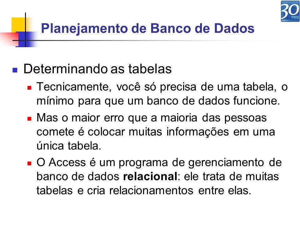 Planejamento de Banco de Dados Determinando as tabelas Tecnicamente, você só precisa de uma tabela, o mínimo para que um banco de dados funcione. Mas
