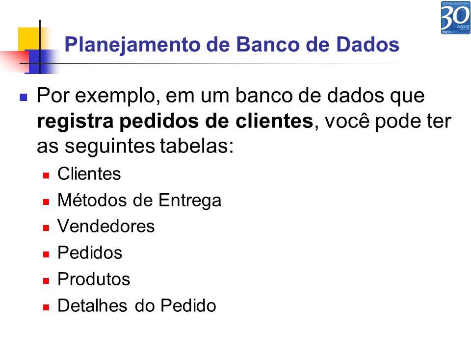 Planejamento de Banco de Dados Por exemplo, em um banco de dados que registra pedidos de clientes, você pode ter as seguintes tabelas: Clientes Método
